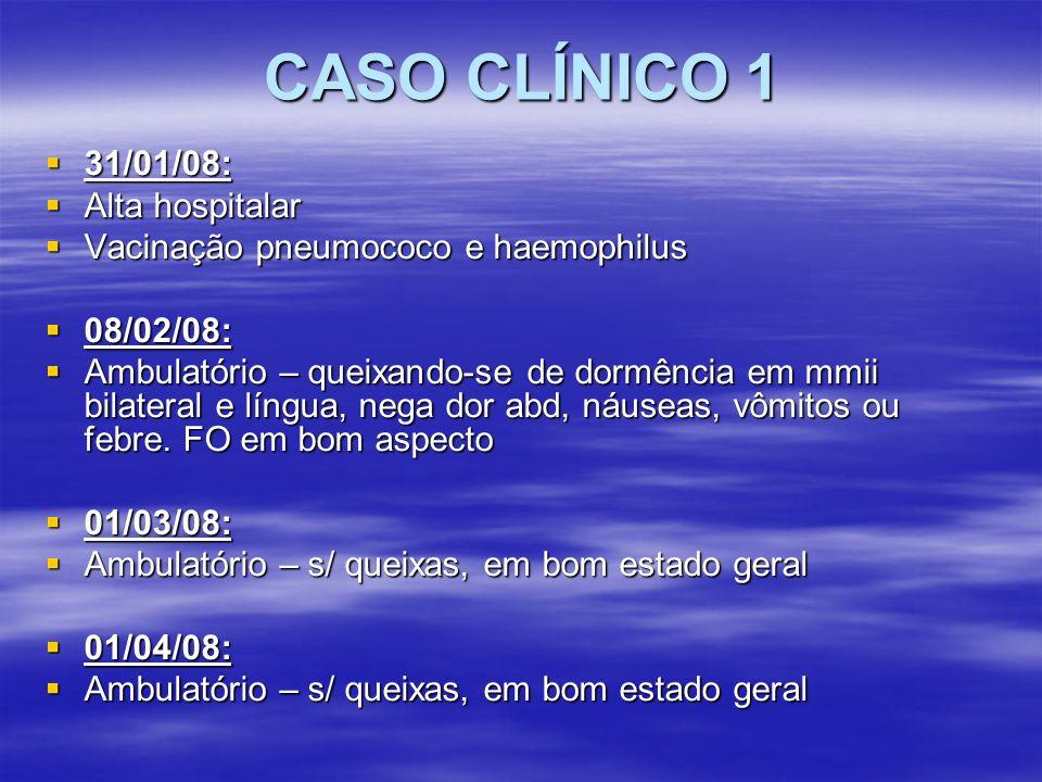CASO CLÍNICO 1 31/01/08: 31/01/08: Alta hospitalar Alta hospitalar Vacinação pneumococo e haemophilus Vacinação pneumococo e haemophilus 08/02/08: 08/
