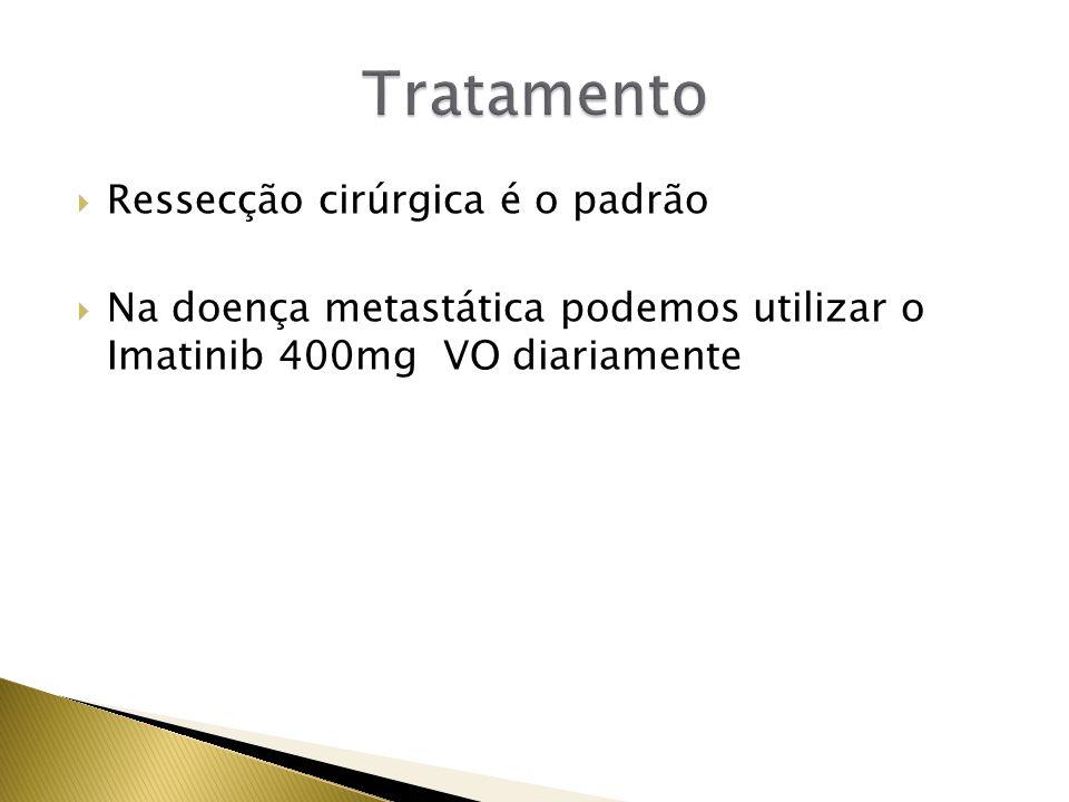 Ressecção cirúrgica é o padrão Na doença metastática podemos utilizar o Imatinib 400mg VO diariamente