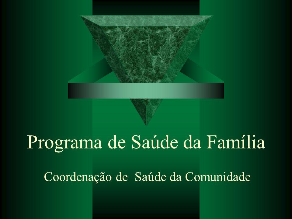 Programa de Saúde da Família Coordenação de Saúde da Comunidade