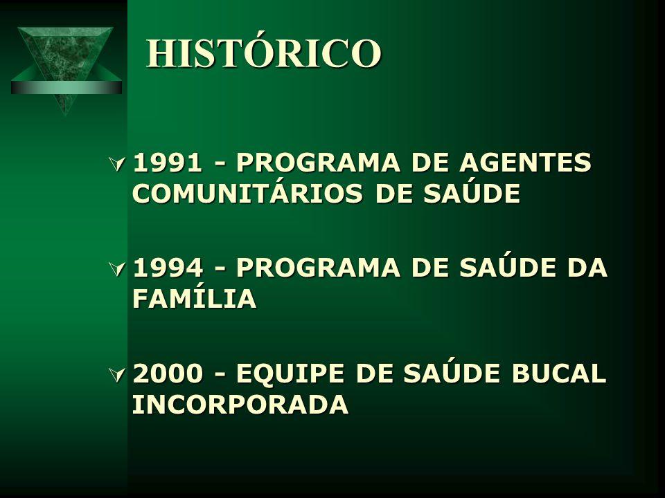 HISTÓRICO 1991 - PROGRAMA DE AGENTES COMUNITÁRIOS DE SAÚDE 1991 - PROGRAMA DE AGENTES COMUNITÁRIOS DE SAÚDE 1994 - PROGRAMA DE SAÚDE DA FAMÍLIA 1994 -