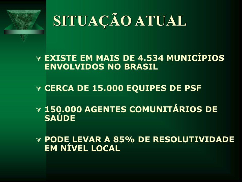 SITUAÇÃO ATUAL EXISTE EM MAIS DE 4.534 MUNICÍPIOS ENVOLVIDOS NO BRASIL CERCA DE 15.000 EQUIPES DE PSF 150.000 AGENTES COMUNITÁRIOS DE SAÚDE PODE LEVAR
