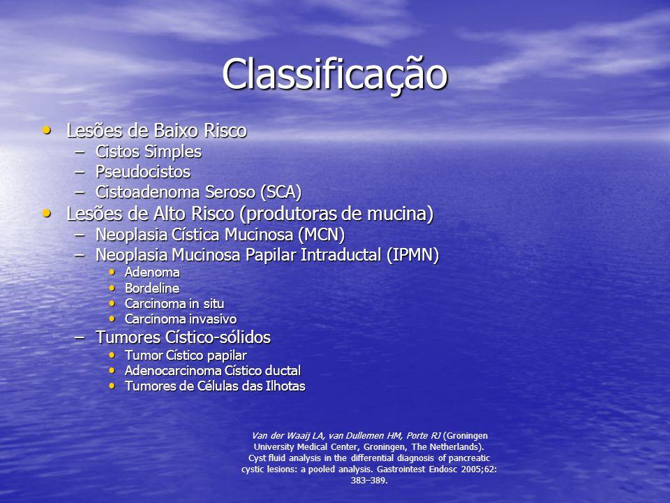 Classificação Lesões de Baixo Risco Lesões de Baixo Risco –Cistos Simples –Pseudocistos –Cistoadenoma Seroso (SCA) Lesões de Alto Risco (produtoras de