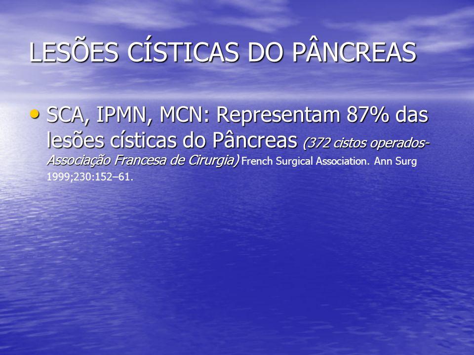 LESÕES CÍSTICAS DO PÂNCREAS SCA, IPMN, MCN: Representam 87% das lesões císticas do Pâncreas (372 cistos operados- Associação Francesa de Cirurgia) SCA