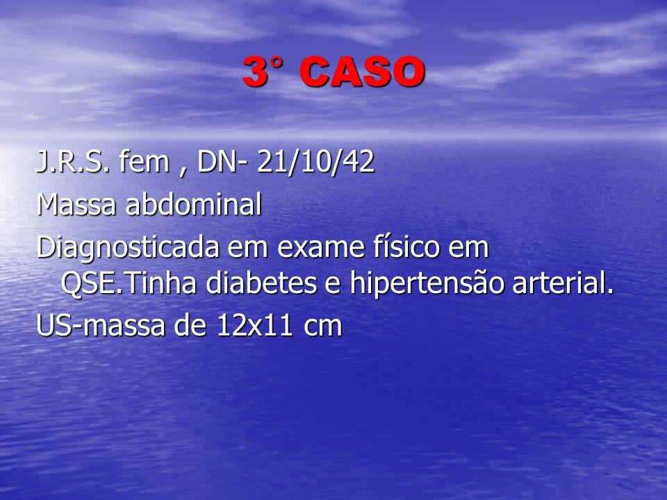 3° CASO J.R.S. fem, DN- 21/10/42 Massa abdominal Diagnosticada em exame físico em QSE.Tinha diabetes e hipertensão arterial. US-massa de 12x11 cm
