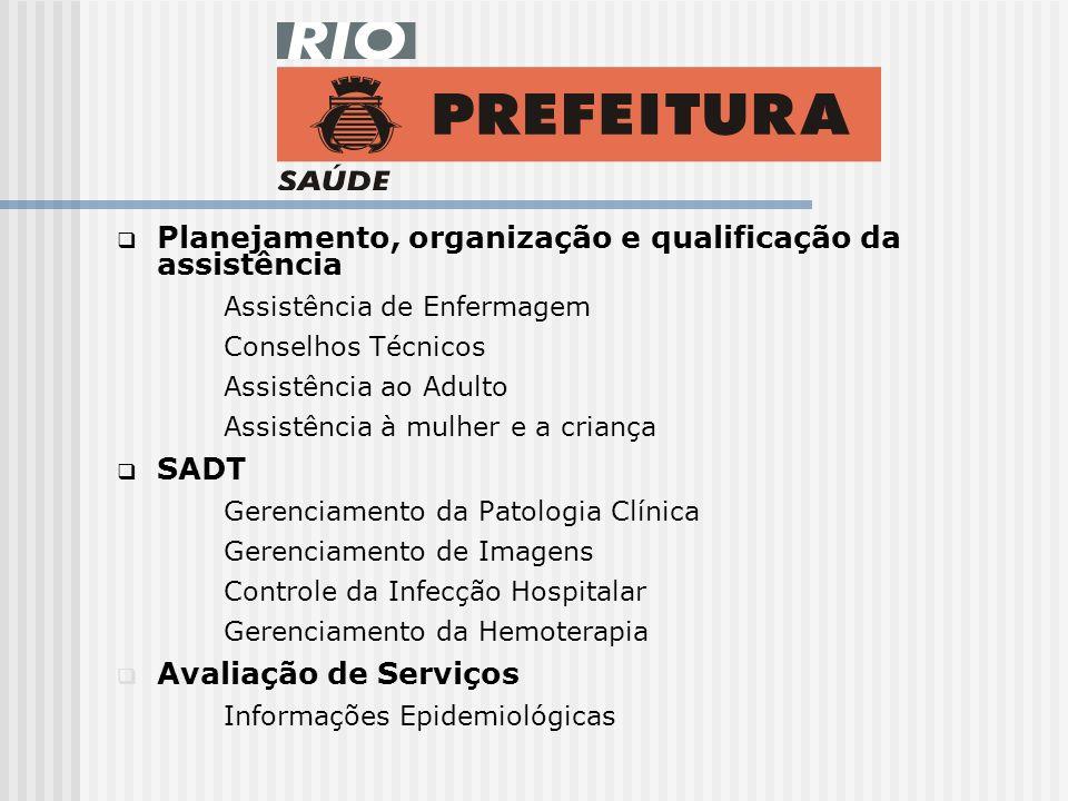 Planejamento, organização e qualificação da assistência Assistência de Enfermagem Conselhos Técnicos Assistência ao Adulto Assistência à mulher e a criança SADT Gerenciamento da Patologia Clínica Gerenciamento de Imagens Controle da Infecção Hospitalar Gerenciamento da Hemoterapia Avaliação de Serviços Informações Epidemiológicas