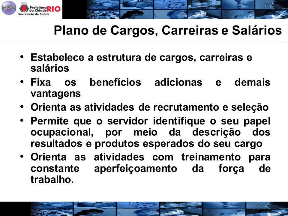 Plano de Cargos, Carreiras e Salários Estabelece a estrutura de cargos, carreiras e salários Fixa os benefícios adicionas e demais vantagens Orienta a