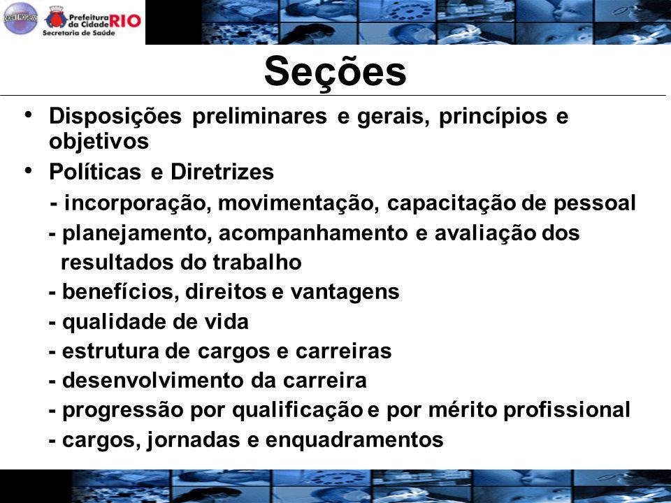 Seções Disposições preliminares e gerais, princípios e objetivos Políticas e Diretrizes - incorporação, movimentação, capacitação de pessoal - planeja