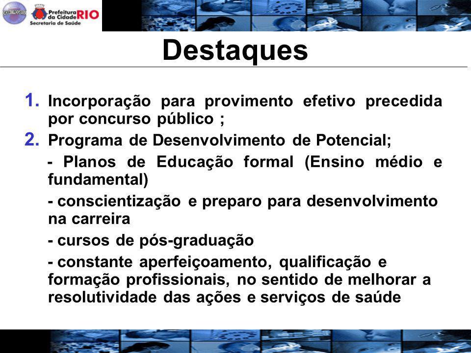 Destaques 1. Incorporação para provimento efetivo precedida por concurso público ; 2. Programa de Desenvolvimento de Potencial; - Planos de Educação f