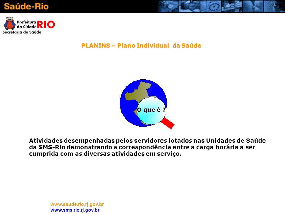 www.saude.rio.rj.gov.br www.sms.rio.rj.gov.br O que é ? Atividades desempenhadas pelos servidores lotados nas Unidades de Saúde da SMS-Rio demonstrand