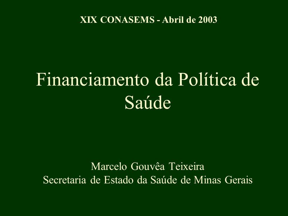 Financiamento da Política de Saúde Marcelo Gouvêa Teixeira Secretaria de Estado da Saúde de Minas Gerais XIX CONASEMS - Abril de 2003