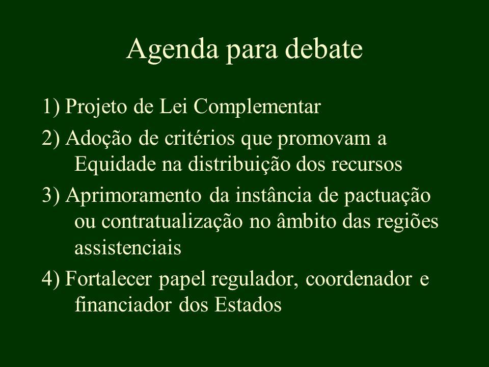 Agenda para debate 1) Projeto de Lei Complementar 2) Adoção de critérios que promovam a Equidade na distribuição dos recursos 3) Aprimoramento da instância de pactuação ou contratualização no âmbito das regiões assistenciais 4) Fortalecer papel regulador, coordenador e financiador dos Estados