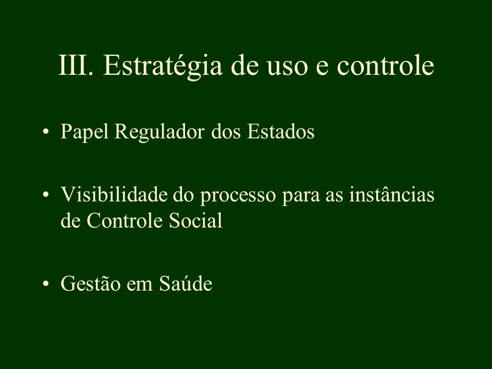 III. Estratégia de uso e controle Papel Regulador dos Estados Visibilidade do processo para as instâncias de Controle Social Gestão em Saúde