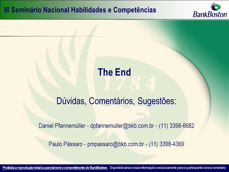 III Seminário Nacional Habilidades e Competências Proibida a reprodução total ou parcial sem o consentimento do BankBoston. Disponibilizamos essas inf