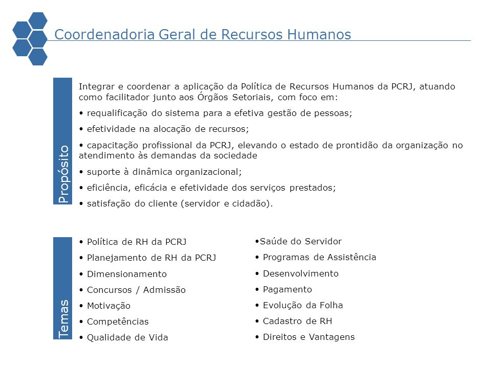 Coordenadoria Geral de Recursos Humanos Integrar e coordenar a aplicação da Política de Recursos Humanos da PCRJ, atuando como facilitador junto aos Ó