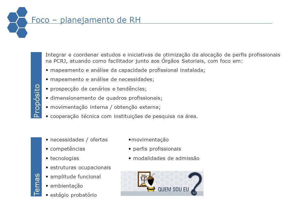 Integrar e coordenar estudos e iniciativas de otimização da alocação de perfis profissionais na PCRJ, atuando como facilitador junto aos Órgãos Setori