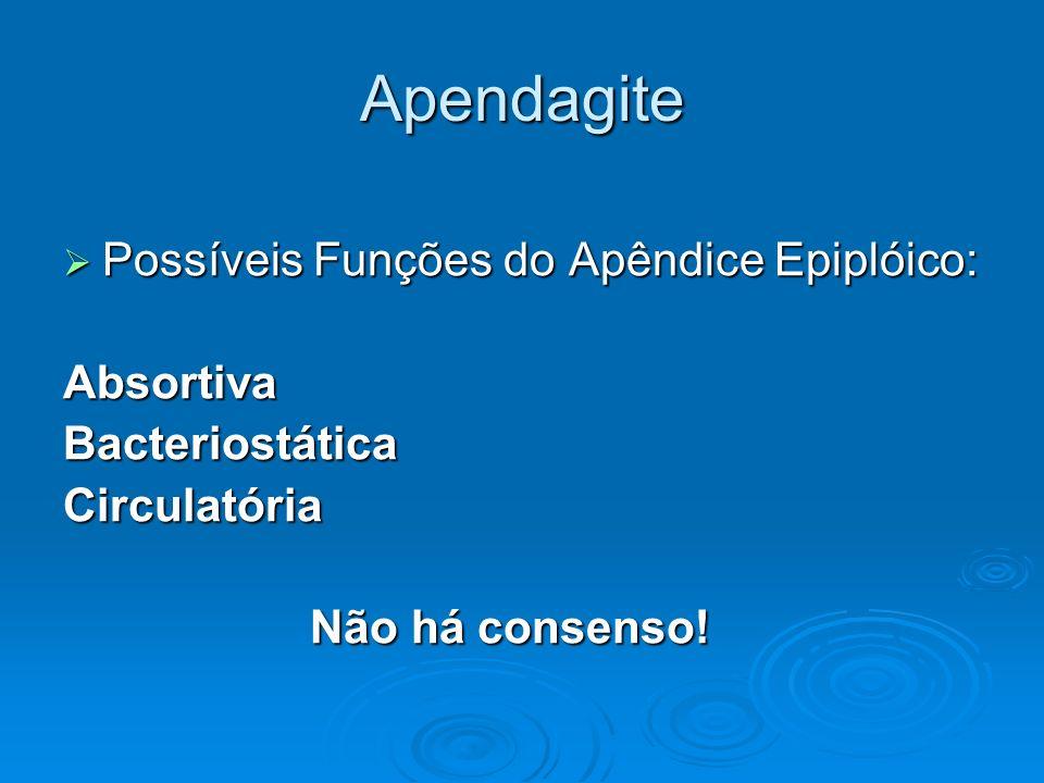 Apendagite Possíveis Funções do Apêndice Epiplóico: Possíveis Funções do Apêndice Epiplóico:AbsortivaBacteriostáticaCirculatória Não há consenso! Não
