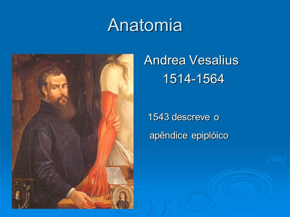 Anatomia Andrea Vesalius Andrea Vesalius1514-1564 1543 descreve o 1543 descreve o apêndice epiplóico apêndice epiplóico