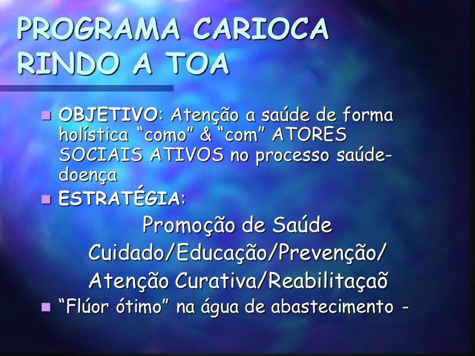 PROGRAMA CARIOCA RINDO A TOA OBJETIVO: Atenção a saúde de forma holística como & com ATORES SOCIAIS ATIVOS no processo saúde- doença OBJETIVO: Atenção