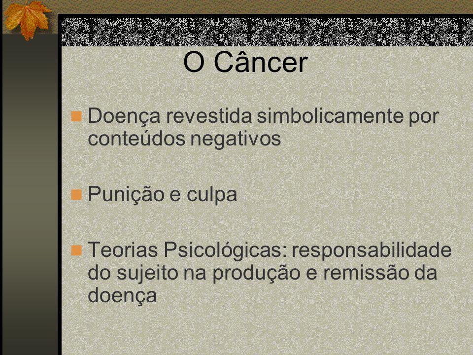 O Câncer Doença revestida simbolicamente por conteúdos negativos Punição e culpa Teorias Psicológicas: responsabilidade do sujeito na produção e remis