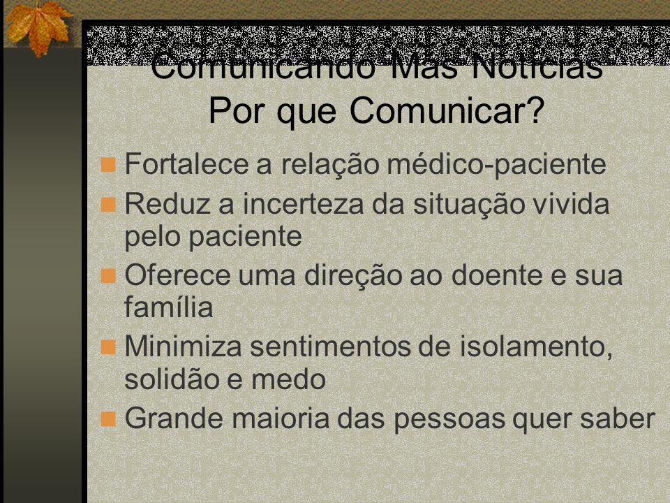 Comunicando Más Notícias Por que Comunicar? Fortalece a relação médico-paciente Reduz a incerteza da situação vivida pelo paciente Oferece uma direção