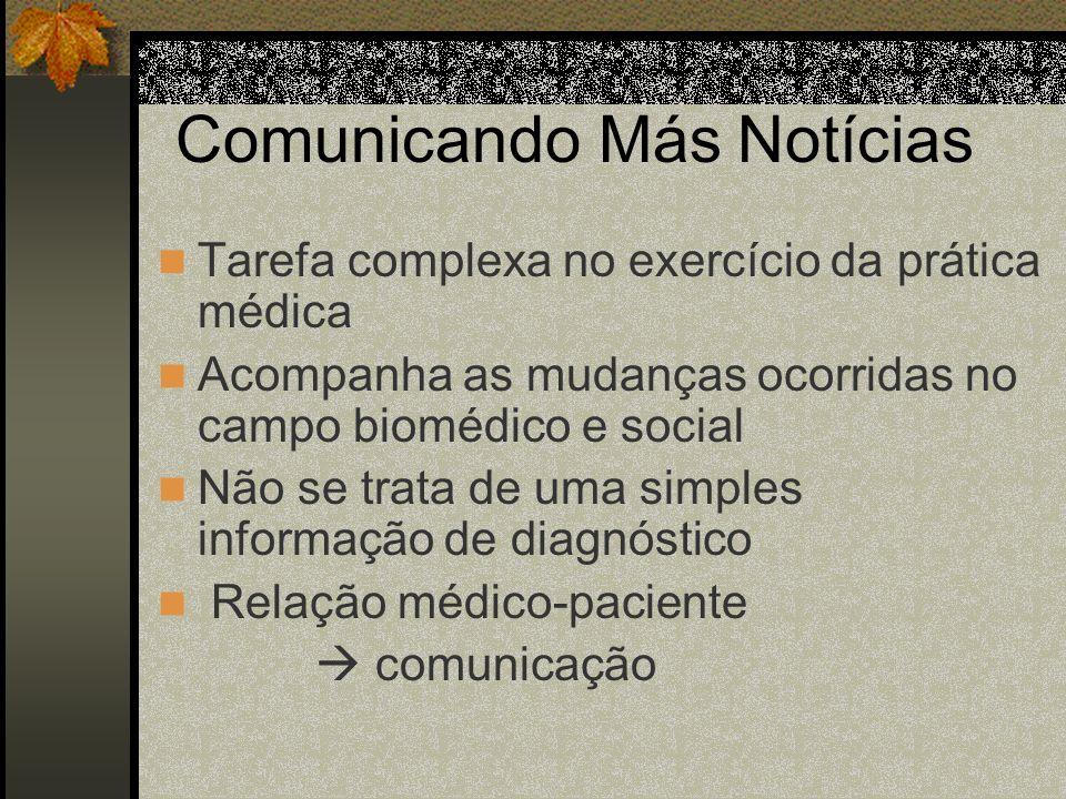 Comunicando Más Notícias Tarefa complexa no exercício da prática médica Acompanha as mudanças ocorridas no campo biomédico e social Não se trata de um