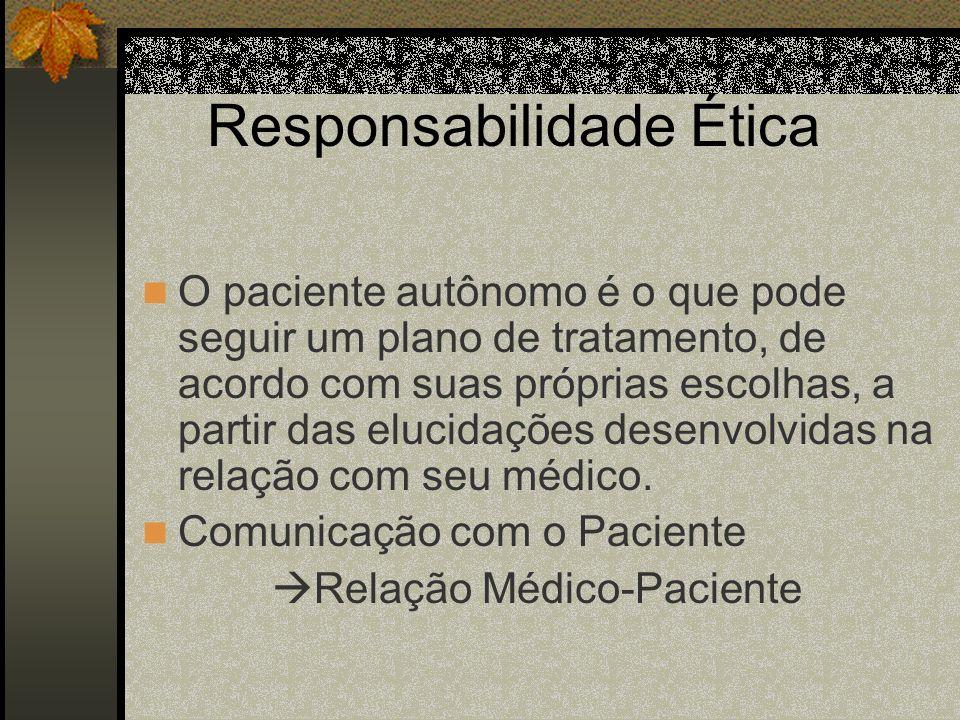 Responsabilidade Ética O paciente autônomo é o que pode seguir um plano de tratamento, de acordo com suas próprias escolhas, a partir das elucidações
