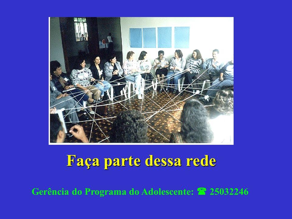 Faça parte dessa rede Gerência do Programa do Adolescente: 25032246