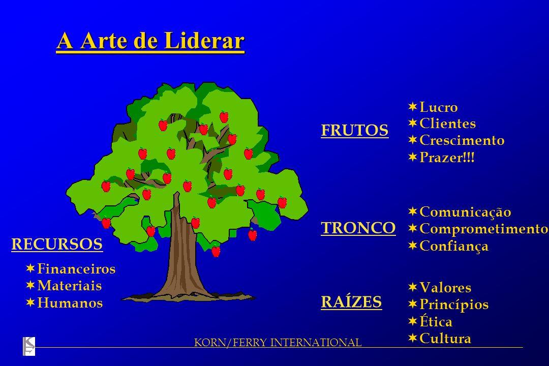 KORN/FERRY INTERNATIONAL A Arte de Liderar FRUTOS RAÍZES TRONCO RECURSOS Lucro Clientes Crescimento Prazer!!! Valores Princípios Ética Cultura Comunic