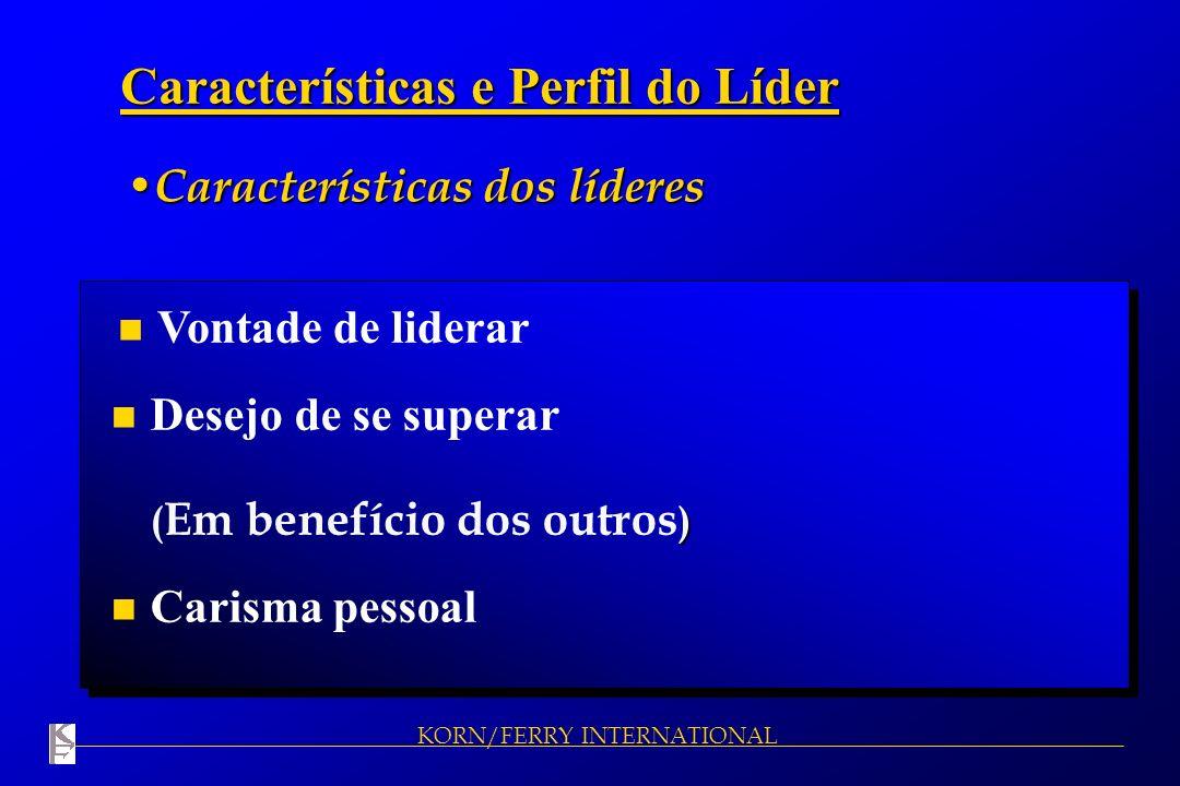 KORN/FERRY INTERNATIONAL Características e Perfil do Líder Características dos líderes Características dos líderes n Vontade de liderar n Desejo de se