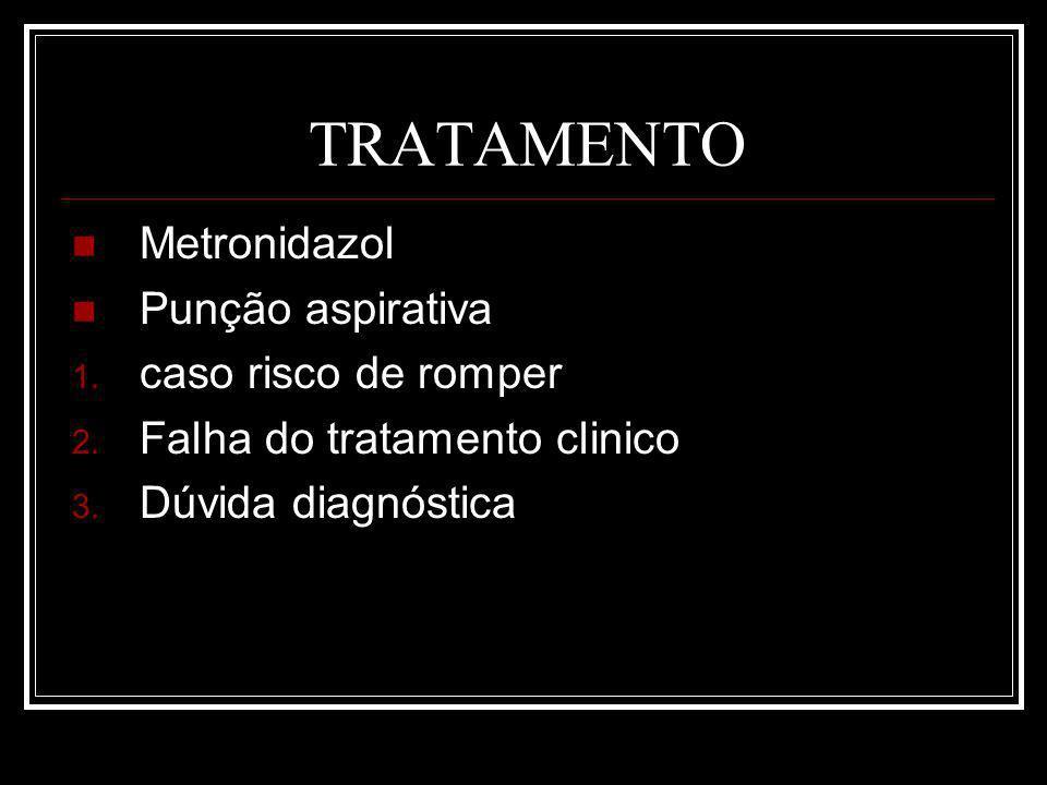 TRATAMENTO Metronidazol Punção aspirativa 1.caso risco de romper 2.