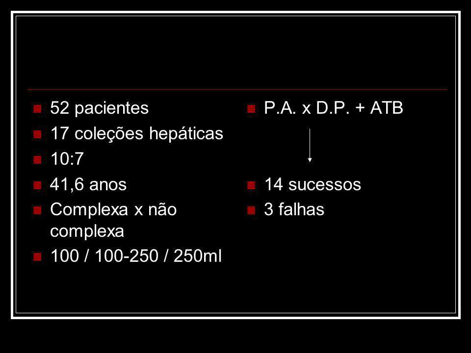 52 pacientes 17 coleções hepáticas 10:7 41,6 anos Complexa x não complexa 100 / 100-250 / 250ml P.A.