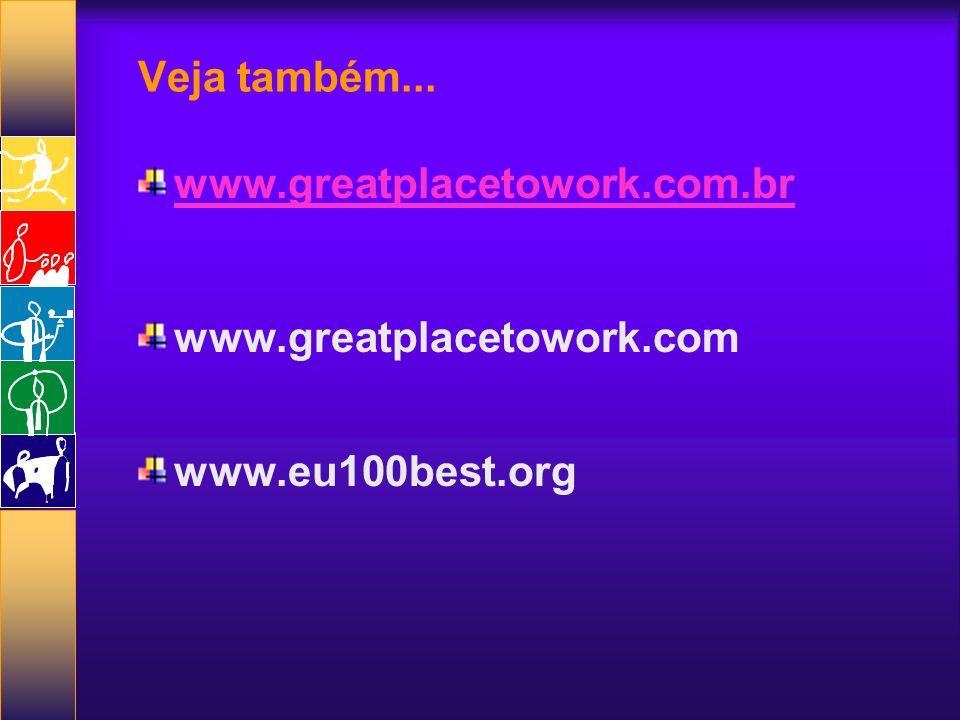 Veja também... www.greatplacetowork.com.br www.greatplacetowork.com www.eu100best.org