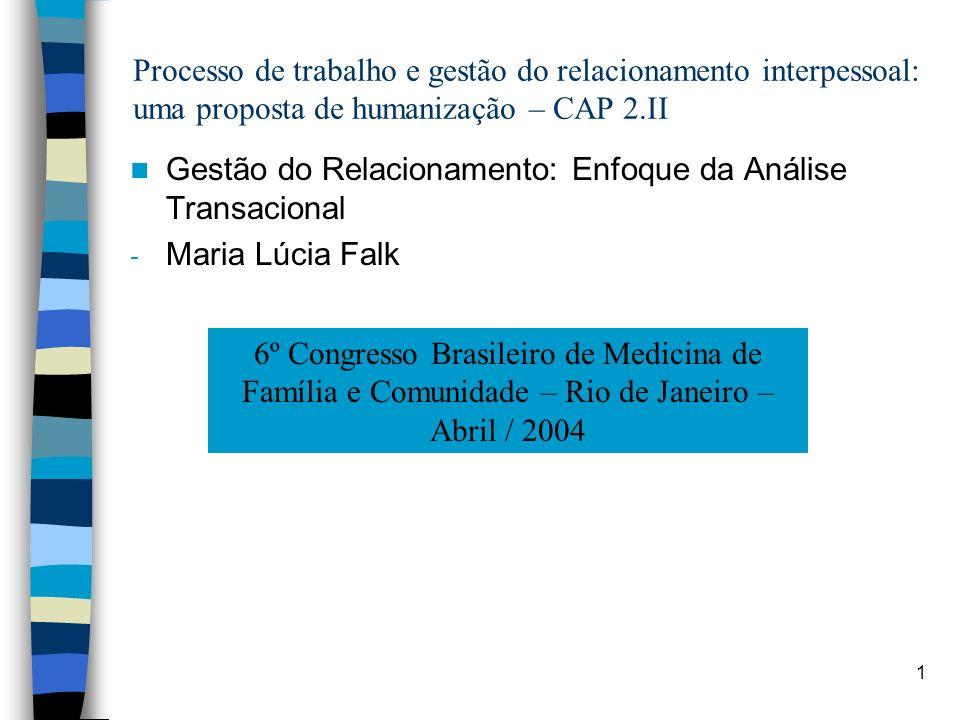 1 Processo de trabalho e gestão do relacionamento interpessoal: uma proposta de humanização – CAP 2.II Gestão do Relacionamento: Enfoque da Análise Tr
