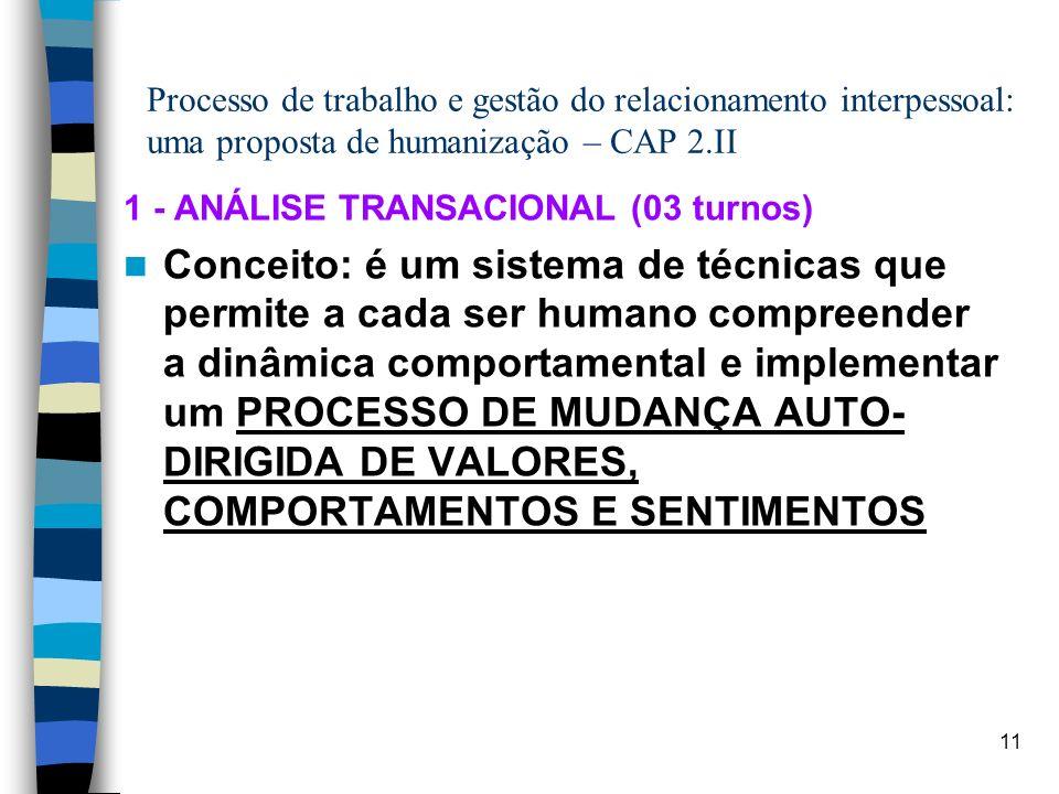 11 Processo de trabalho e gestão do relacionamento interpessoal: uma proposta de humanização – CAP 2.II 1 - ANÁLISE TRANSACIONAL (03 turnos) Conceito: