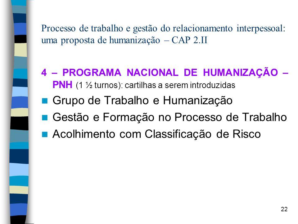 22 Processo de trabalho e gestão do relacionamento interpessoal: uma proposta de humanização – CAP 2.II 4 – PROGRAMA NACIONAL DE HUMANIZAÇÃO – PNH (1