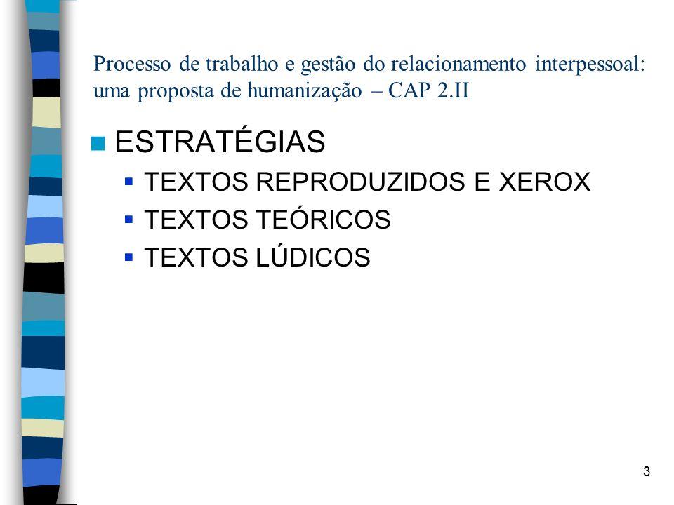 3 Processo de trabalho e gestão do relacionamento interpessoal: uma proposta de humanização – CAP 2.II ESTRATÉGIAS TEXTOS REPRODUZIDOS E XEROX TEXTOS