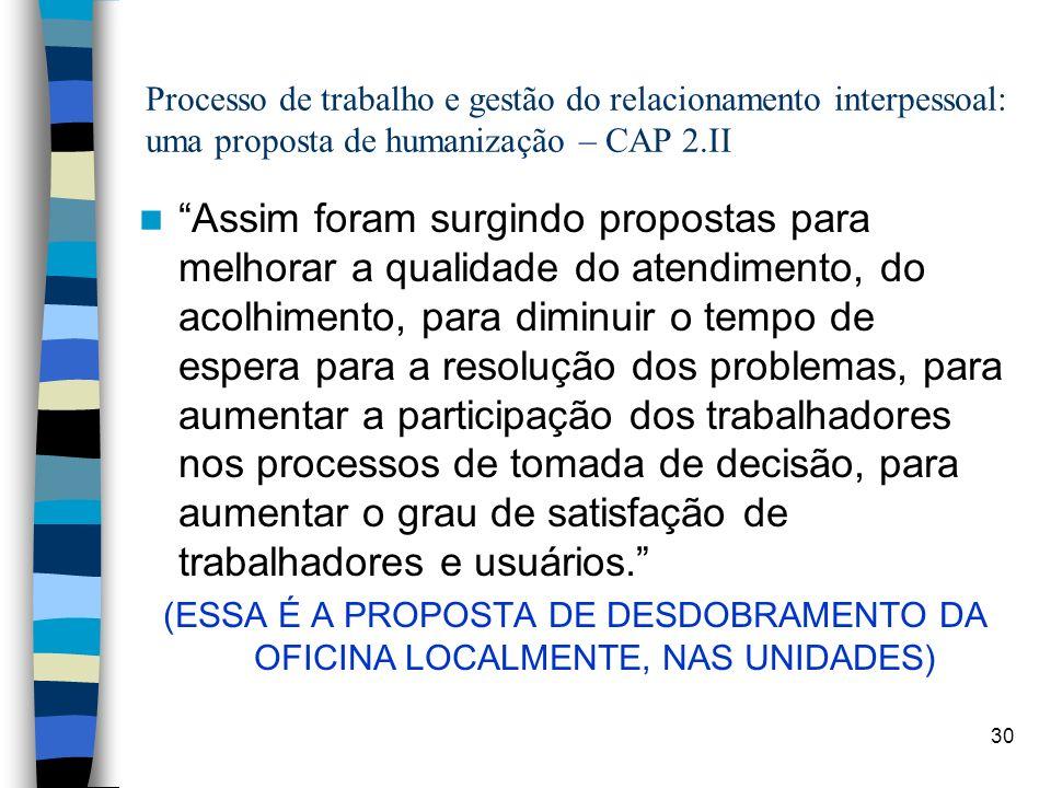 30 Processo de trabalho e gestão do relacionamento interpessoal: uma proposta de humanização – CAP 2.II Assim foram surgindo propostas para melhorar a