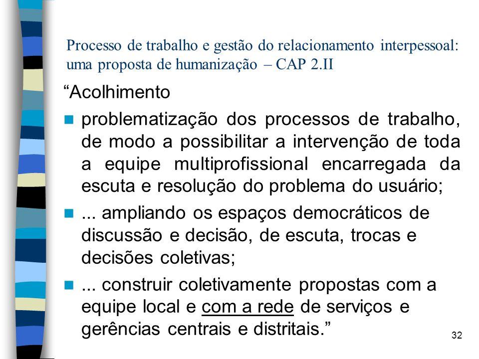 32 Processo de trabalho e gestão do relacionamento interpessoal: uma proposta de humanização – CAP 2.II Acolhimento problematização dos processos de t