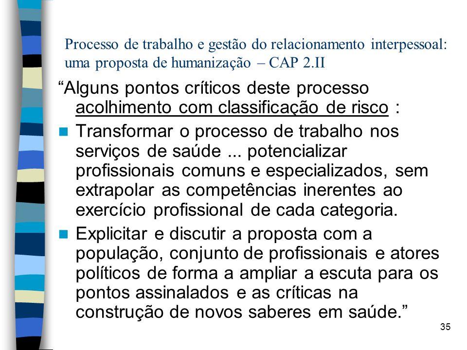 35 Processo de trabalho e gestão do relacionamento interpessoal: uma proposta de humanização – CAP 2.II Alguns pontos críticos deste processo acolhime