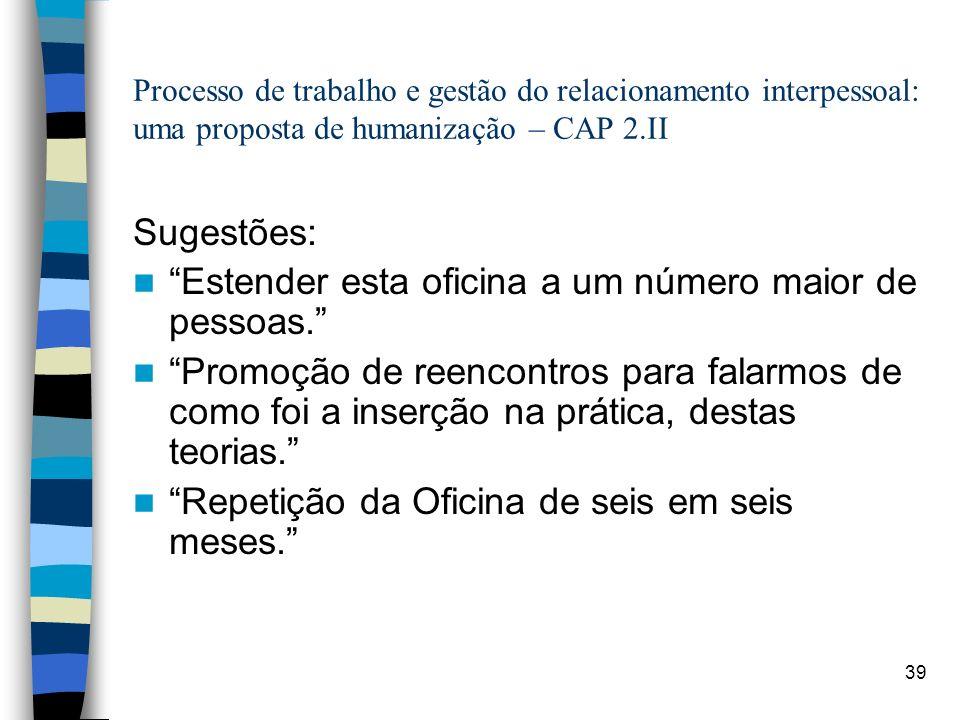 39 Processo de trabalho e gestão do relacionamento interpessoal: uma proposta de humanização – CAP 2.II Sugestões: Estender esta oficina a um número m