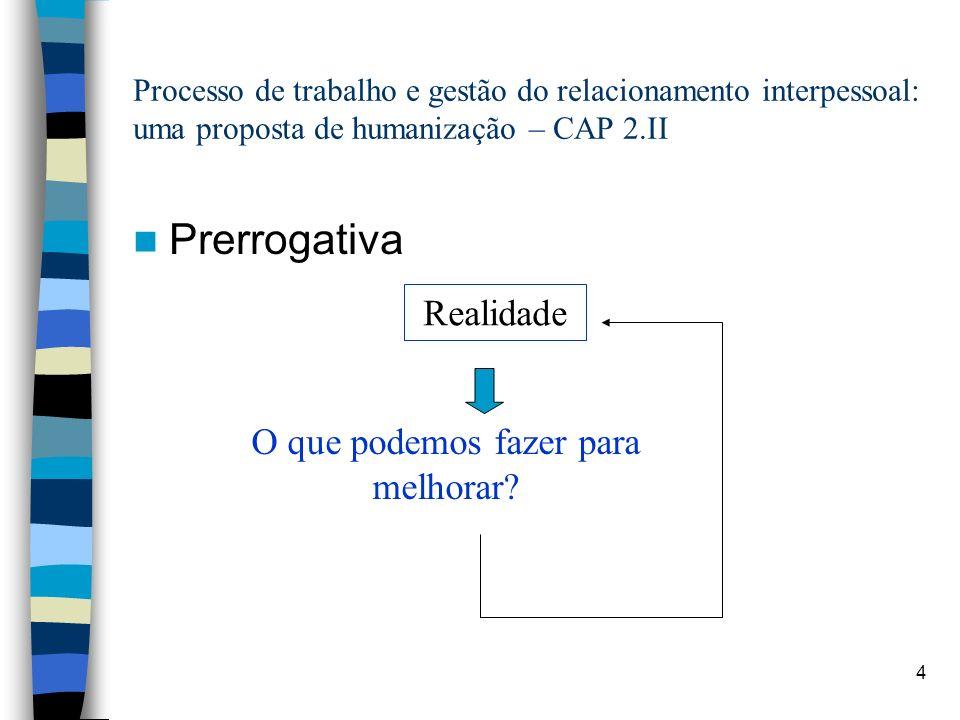 4 Processo de trabalho e gestão do relacionamento interpessoal: uma proposta de humanização – CAP 2.II Prerrogativa Realidade O que podemos fazer para