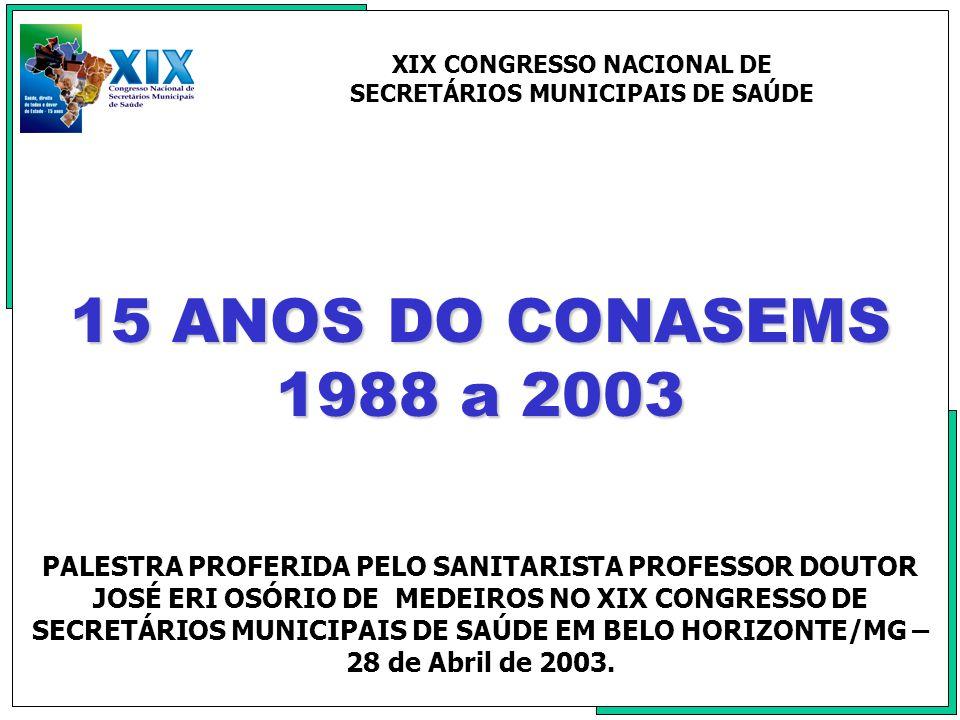 HISTÓRICO A memória do Movimento Municipalista retrata parte da história do nosso povo, por isso deve ser relembrada e contada para todos que seguem a trajetória da Reforma Sanitária Brasileira.