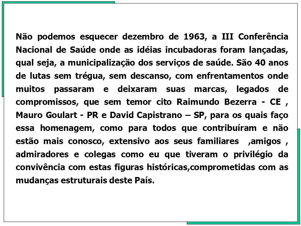 Não podemos esquecer dezembro de 1963, a III Conferência Nacional de Saúde onde as idéias incubadoras foram lançadas, qual seja, a municipalização dos