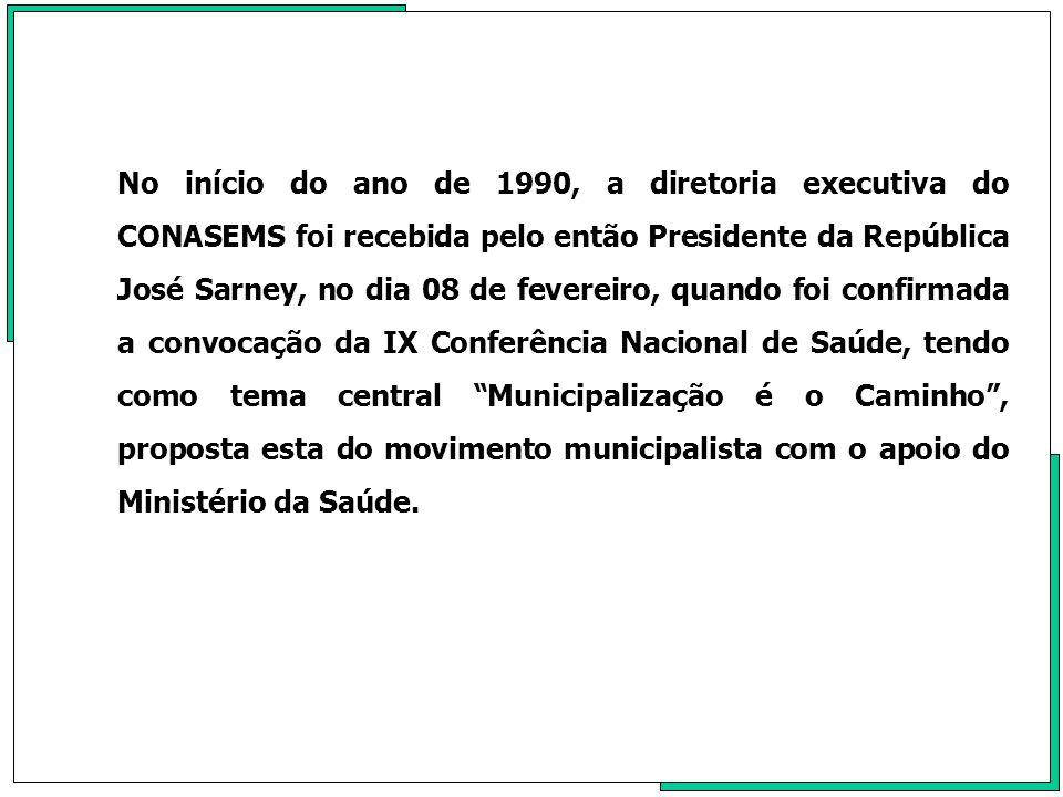 No início do ano de 1990, a diretoria executiva do CONASEMS foi recebida pelo então Presidente da República José Sarney, no dia 08 de fevereiro, quand