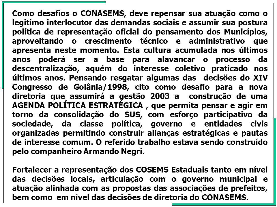 Como o CONASEMS defende o MOVIMENTO MUNICIPALISTA NO BRASIL, este desafio, acredito ser, maior do que hoje representamos.
