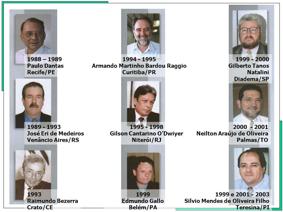 1988 – 1989 Paulo Dantas Recife/PE 1989 - 1993 José Eri de Medeiros Venâncio Aires/RS 1993 Raimundo Bezerra Crato/CE 1994 - 1995 Armando Martinho Bard