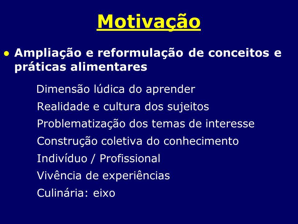 Motivação Ampliação e reformulação de conceitos e práticas alimentares Dimensão lúdica do aprender Realidade e cultura dos sujeitos Problematização do
