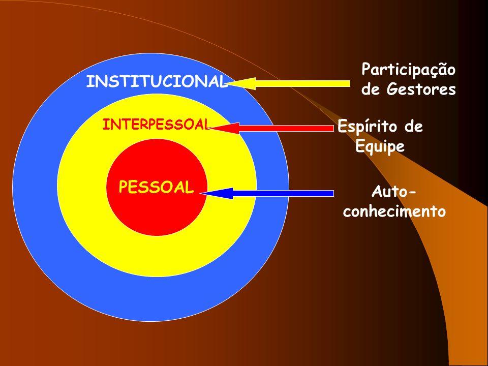 PESSOAL INTERPESSOAL INSTITUCIONAL Participação de Gestores Espírito de Equipe Auto- conhecimento