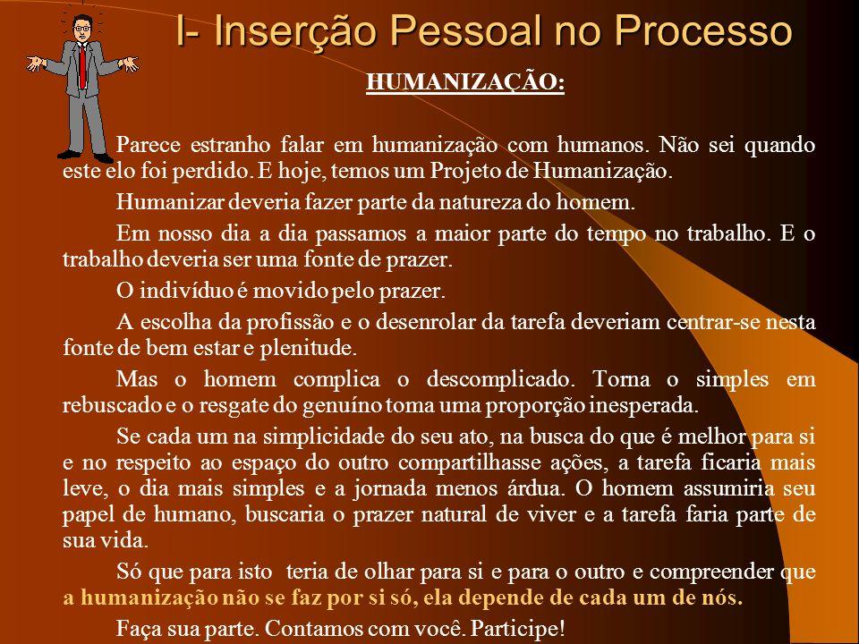 I- Inserção Pessoal no Processo HUMANIZAÇÃO: Parece estranho falar em humanização com humanos. Não sei quando este elo foi perdido. E hoje, temos um P