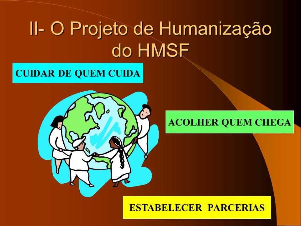 II- O Projeto de Humanização do HMSF CUIDAR DE QUEM CUIDA ACOLHER QUEM CHEGA ESTABELECER PARCERIAS